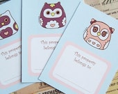 Bookplates or Labels Set Owls, printable bookplates, party favor, back to school, instant download, gifts for girls