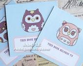 Owls mini bookplates set - PDF printables file - cute children bookplates, printable bookplates, back to school, birthday favor, DIY
