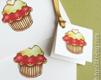 Christmas Tags, Cupcakes, Printable PDF Files, Cards, Envelope, Stationary, Instant Download, Cute Cupcakes Tags
