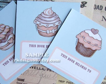 Bookplates, Cupcakes mini bookplates set, instant download, PDF printable file, childrens bookplates, back to school, party favor, DIY