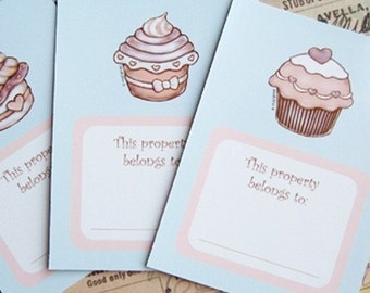 Valentines Day Gift, Bookplates, Labels Set Cupcakes, instant download, PDF, printable, back to school, gift for her