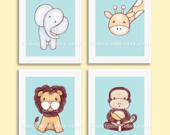Nursery art print, baby boy nursery decor, kids wall art, zoo animal, baby room art, elephant, lion, giraffe, monkey, Set, 4 prints
