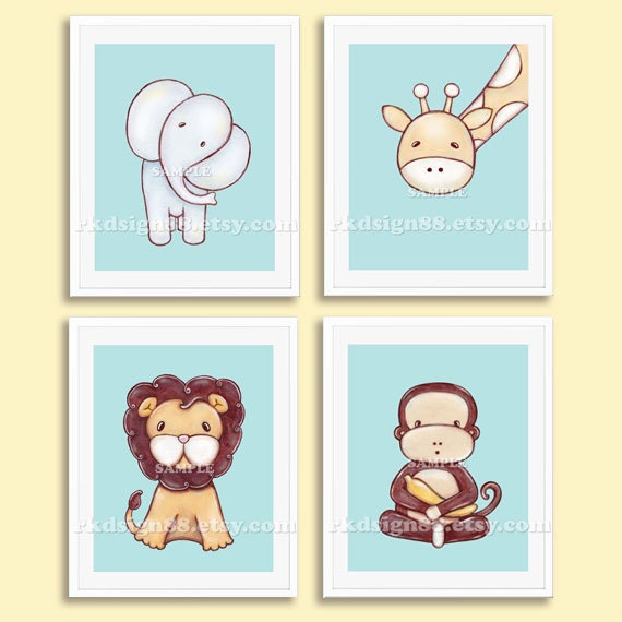 Baby Boy Nursery Decor Kids Wall Art Zoo Animal Baby Room Art