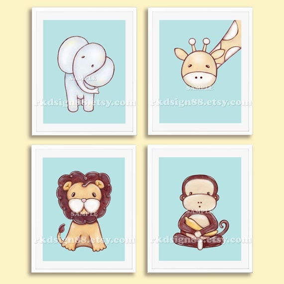 Nursery Art For Children Kids Wall Art Baby Girl Nursery Baby: Nursery Art Print Baby Boy Nursery Decor Kids Wall Art Zoo