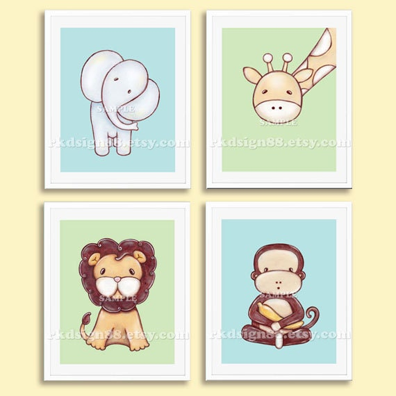 Safari Nursery Decor Jungle Theme Nursery Nursery Artwork: Nursery Art Prints Baby Boy Nursery Decor Safari Animals