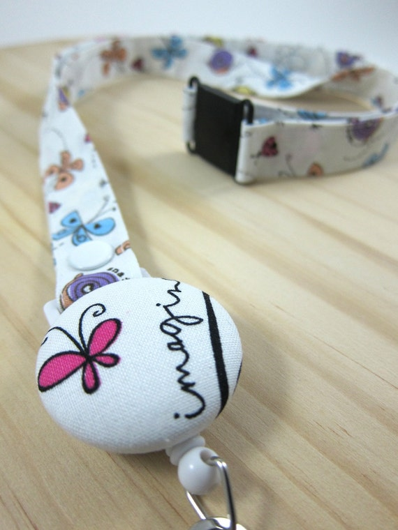 Fabric Lanyard with Retractable Badge Reel - ID Badge Holder - Imagine Butterfly