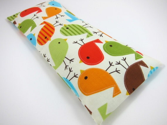 Eye Pillow with Removable Cover (100% Organic Flaxseed and Lavender Filler) - Colorful Birds