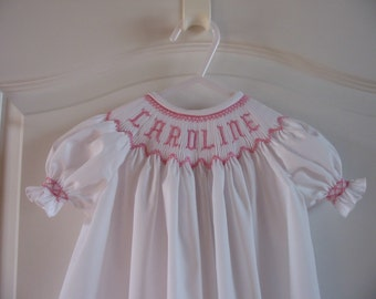 Custom Hand Smocked Bishop Dress Your Name, Big Sister, Team or Monogram, You choose the fabric and the color of thread