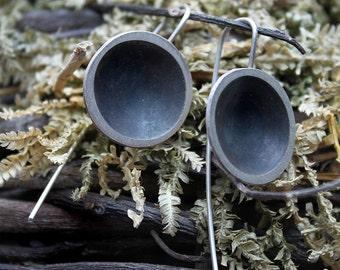 Dangle earrings, Sterling silver minimal earrings, Geometric earrings, Circle earrings, Statement earrings, Gift for her, Gift for women