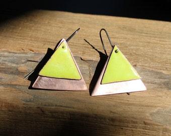 Enamel copper triangle earrings, Green earrings, Copper earrings, Geometric earrings, Enamel earrings, Dainty earrings, Lime green earrings