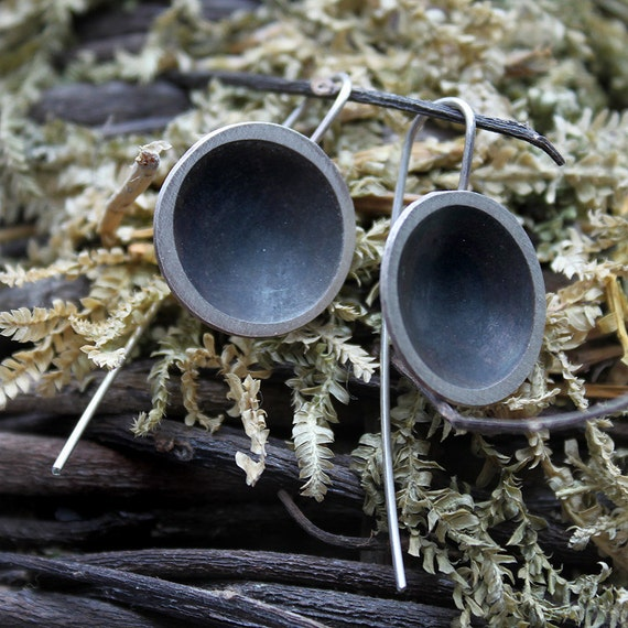 Sterling silver earrings, Dangle earrings, Minimalist sterling silver earrings, Geometric earrings, Circle earrings, Statement earrings