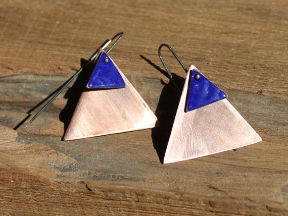 Enamel triangle earrings - Copper and Cobalt blue
