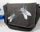 Flies Printed Large Canvas Messenger Bag