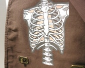 Bone Rib Cage Skeleton Messenger Bag - Field Style for School, College, Travel, Vacation, Book, Laptop