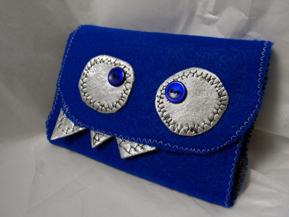 BLUE SHINY MONSTER JOURNAL - mini blank notebook cover w/ pen or pencil