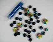 Bead Mix Foiled Lampwork, Black Crystals, and Turquoise Seed Beads