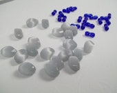 Fiber Optic Bead Mix in Grays and Royal Blue