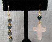 Rose Quartz Cross and Hematite Heart Earrings