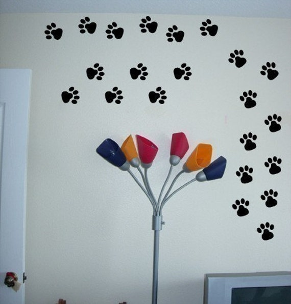 Set of 24 dog paw prints vinyl wall graphic art sticker decals for Custom vinyl mural prints