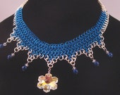 Brilliant Blue Ice Queen Chainmaille Choker