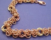 Intricate Copper and Brass Chainaille Bracelet