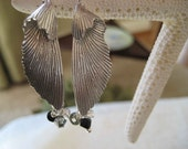 Beautiful Folded Silver Leaf  Dangle Earrings with Swarovski Crystals