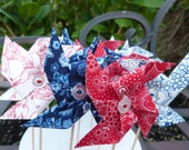 Pinwheel Cupcake Flags - 12 Fabric Nautical- Red , White , Blue - Cake Topper , use for Birthday, Celebration or a party