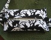Black Damask Fabric - Handy Auto Visor Travel Tissue Holder