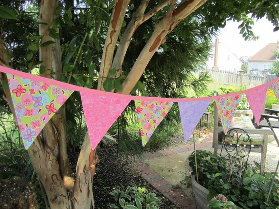 Sale - Girly EXTRA LONG 16 Flags Butterflies and Glitter Playroom, Baby Shower, Wedding, Garden Party Bunting