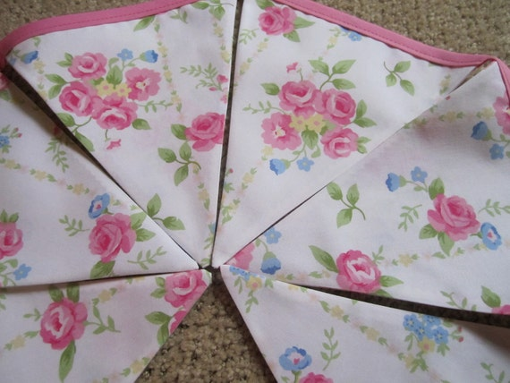 Sale - Shabby Pottery Barn Pink Rose Chic, Baby Nursery, Photo Prop, Shower Fabric 6 Bunting Flags - 4.5 Feet - READY TO GO