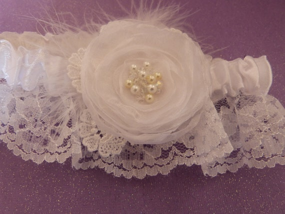 White Organza Flower Lace, Feather,  Pearl and Crystal Wedding Keepsake Garter