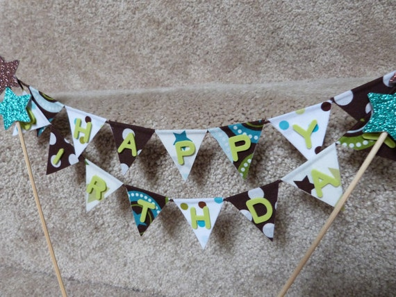 Cake Topper HAPPY BIRTHDAY Riley BLAKE Star Flags Banner