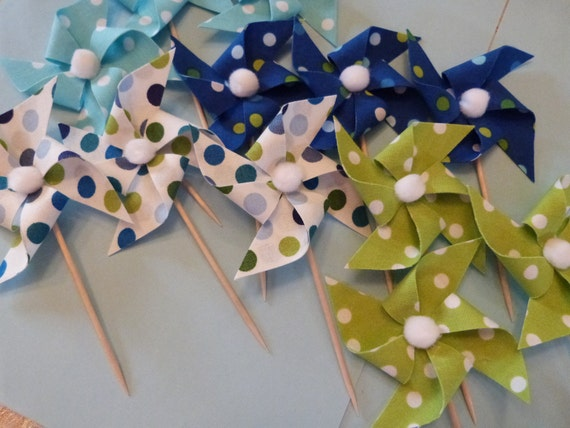 Polka Dot Pinwheel Cupcake Flags - 12 Fabric  Cake Toppers, use for a Birthday, Baby Shower, Celebration, Graduation, or a party