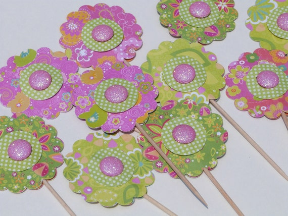 Summer Flower Cupcake Toppers - 12 Paper Button Flowers - Cake or Cupcake Toppers, use for Birthday, Shower, Celebration or a party