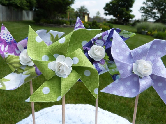 For Rouleen - Garden party - Pinwheel Cupcake Flags - 12 Fabric Floral Polka Dots Cake Toppers