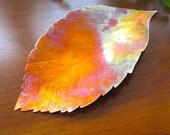 Cottage Chic Woodland Home Decor, Rustic Copper Autumn Decor, Beech Leaf Decorative Dish, Small Tray
