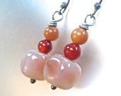 Pink Peach Earrings Sterling Silver Carnelian, Red Aventurine Gemstone Dangles