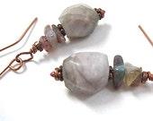 Maine Tourmaline Gemstone Dangle Earrings Seafoam Green Gray Stones Copper Bohemian Jewelry