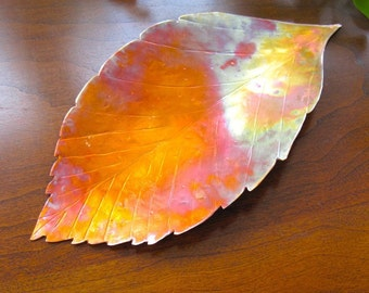 Beech Leaf Decorative Dish, Rustic Copper Leaf, Small Tray, Metal Home Decor, Autumn Leaf, Fall Colors, Gifts for Men, Gift for Women