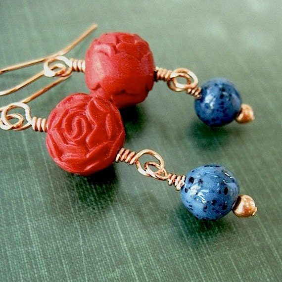 Poppy Red Cinnabar Earrings Long Dangles Carved Roses, Turquoise Blue Beads, Copper