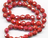 Vintage Cherry Red AB Beads 8mm Faceted Glass 50 Pcs.
