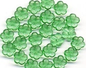 Vintage Flower Beads 9mm Green Translucent Glass 25 Pcs. Made in W Germany
