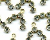 Vintage Crystal 12mm Rhinestone & Gold Color Metal Beads, Drops or Pendants