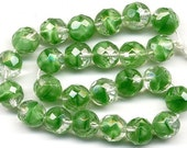 Vintage Green Givre Beads 8mm Faceted Emerald Glass - W.G.