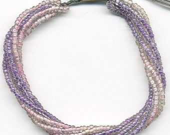 Vintage Seed Beads Strung on Wire Pastel Pink & Purple Lined