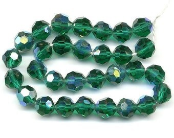Vintage Crystal Beads 8mm Emerald AB Faceted 30 Pcs.