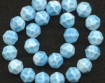 Vintage Aqua Blue & White Beads 10mm Pressed Facets 25 Pcs.