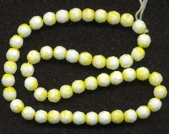Vintage Yellow & White Beads 8mm Faceted Round 40 Pcs. Made in Western Germany