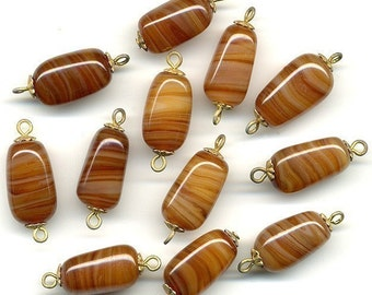 Vintage Brown Agate Glass Beads 18mm w/ Bead Caps & Eye Pin