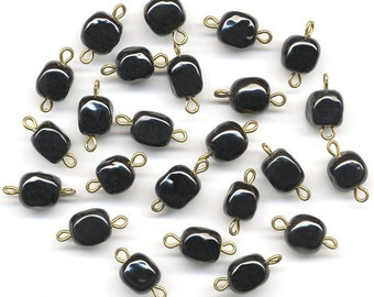 Vintage Beads on Findings Black Glass Cubes w/ Two Loops 24 Pcs. Made in Japan